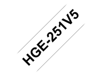 Brother : HGE-251 LAMINATED tape 24MM 5PC BLACK ON WHITE