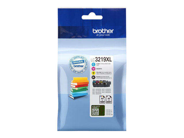 Brother LC3219XLVAL - Pack 4 Cartouches d'encre CYAN MAGENTA JAUNE 1 500 pages et NOIR 3 000 pages