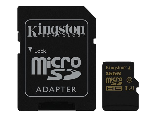 Kingston : 16GB MICROSDHC CLASS U3 UHS-I 90R/45W + SD ADAPTER