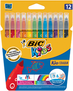 BIC KIDS Feutre Kid Couleur medium, étui en carton de 12