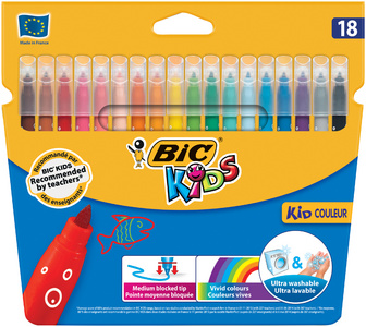 BIC KIDS Feutre Kid Couleur medium, étui en carton de 18