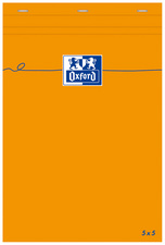 Oxford Bloc-notes, 85 x 120 mm, quadrillé,80 feuilles,orange
