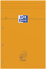 Oxford Bloc Audit agrafé perforé, 210 x 315 mm, 80 feuilles