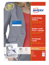 AVERY Badges avec combi pince + épingle, 90 x 54 mm