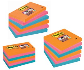 Post-it 3M Super Sticky Notes, 76 x 76 mm, tricolore
