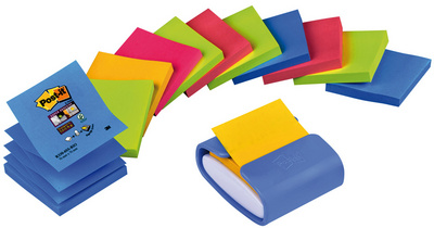 Post-it distributeur Z-Notes, bleu clair, équipé, pack éco