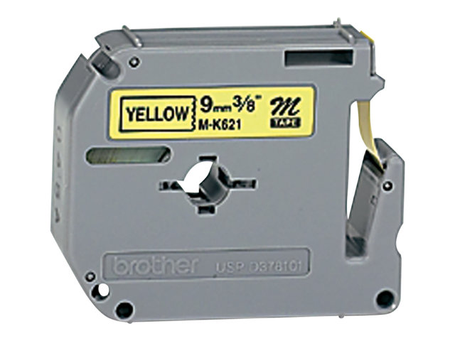 Brother : MK-621BZ PLASTIC LABELLING tape 9MM 8M BLACK ON YELLOW NON-LAMIN
