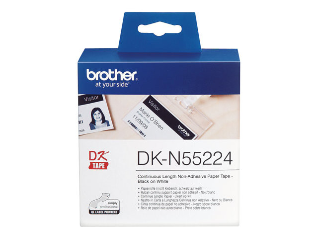 Brother : NON-ADHESIVE papier tape 54MM BLACK ON WHITE54MM X 30.48M