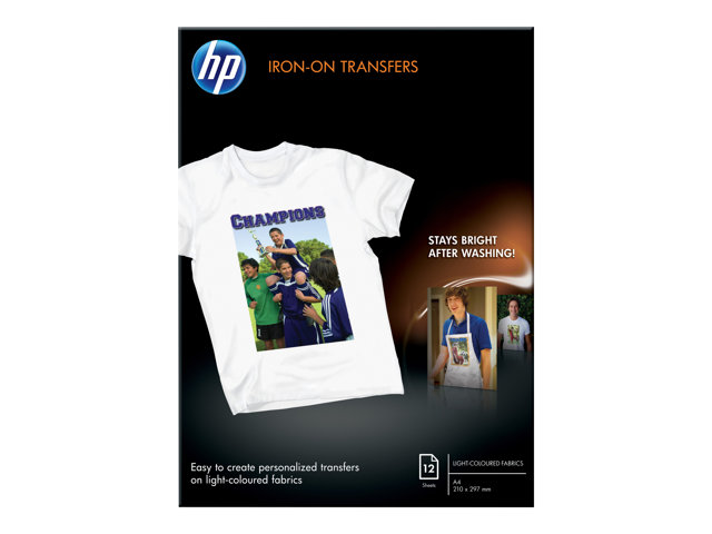 HP : PAPIER TRANSFERT T-SHIRT A4 10 SHEETS PER pack
