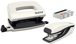 LEITZ kit mini agrafeuse et perforateur Nexxt WOW, blanc