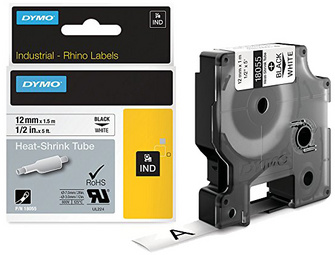 DYMO RHINO Gaine thermorétractable noir/blanc, 12 mm x 1,5 m