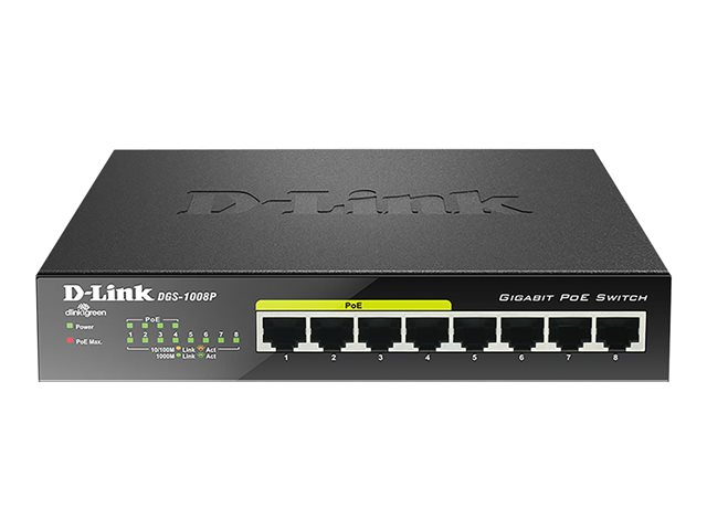 D-Link : 8-PORT 10/100/1000MBPS DESKTOP 8-PORT 10000BASETX