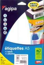 agipa Etiquettes multi-usage, 18,5x 48,5 mm, blanches