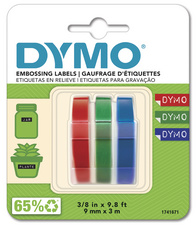DYMO Ruban d'estampage, 9 mm de large, 3 m de long, noir,