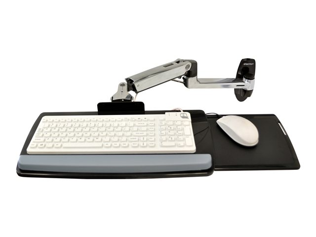 Ergotron : EDU KEYBOARD ARM avec 9 EXTN WALL MOUNT POLISHED ALUMINIUM