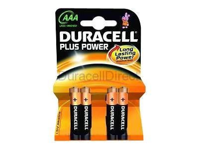 Duracell : ALKALINE batterie AAA/LR03 1 5V PLUS POWER BLISTER 4 batterie
