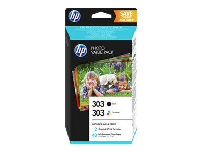 HP : HP 303 PVP avec INK CARTR BLACK TRI-COLOR HP PHOTOPAPER 10X15