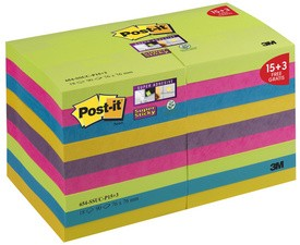 Post-it Super Sticky Notes, 76 x 76 mm, farbig, Pack 15+3