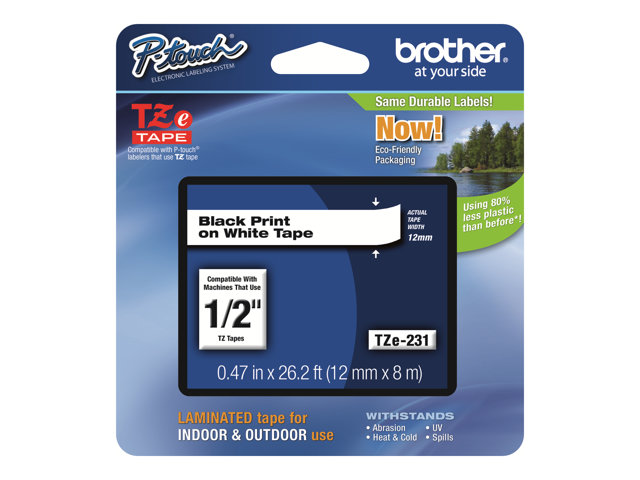 Brother : TZE-231 LAMINATED tape 12MM 8M BLACK ON WHITE
