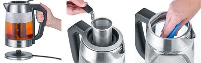 SEVERIN Bouilloire eau et thé WK 3477, en verre acier inox