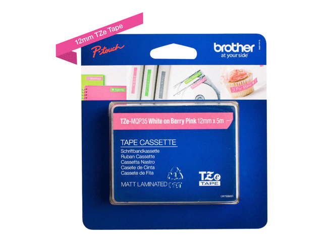 Brother : TZE-MQP35 LAMINAT. tape 12MM 5M PINK MATT avec EISS