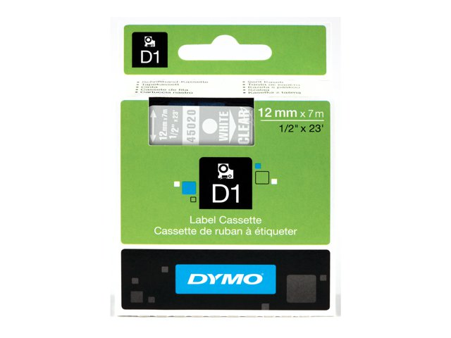 Dymo : 12MMX7M-TAPE WHITE/CLEAR .
