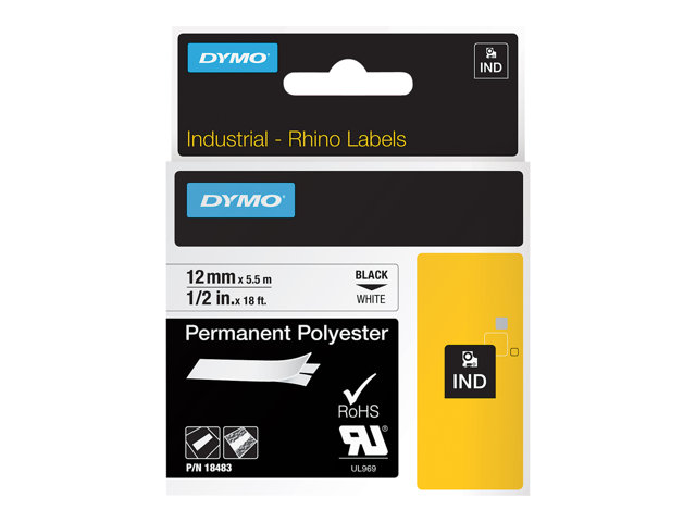 Dymo : ID1-12-1120 PERM.POLYESTER WH.