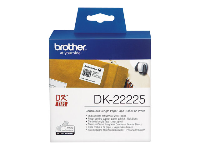 Brother : DK-CONTINUE LENGTH TAPE: 38MM THERMAL papier - WHITE 30.48M