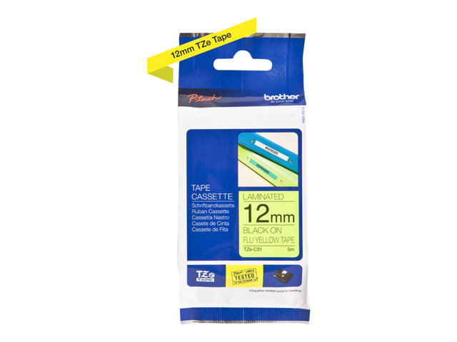 Brother : TZE-C31 LAMINATED tape 12MM 5M NOIR/JAUNE FLUO