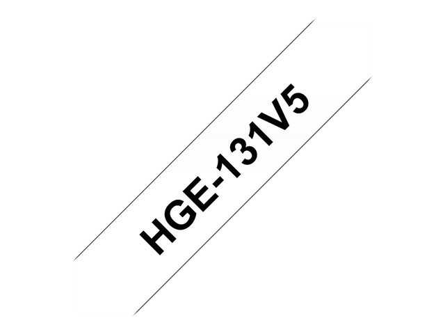 Brother : HGE131V5 RUBAN LARGEUR 12MM NOIR/TRANSPARENT QTE 5 PCS