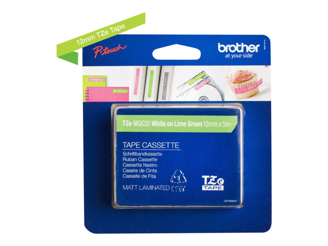 Brother : TZE-MQG35 LAMINAT. tape 12MM 5M BLANC/VERT CITRON