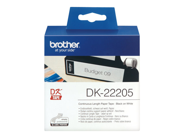 Brother : DK CONTINUOUS LABELS WHITE F/ QL-500/550 papier 30.48M 62M