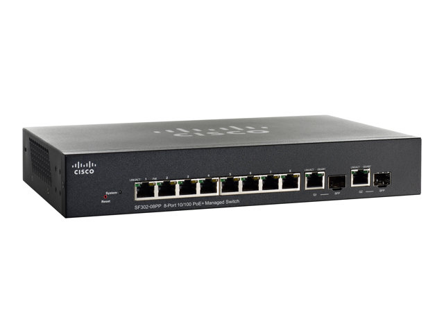 Cisco : CSB SF302-08PP 8-PORT 10/100 POE+ MANAGED SWITCH