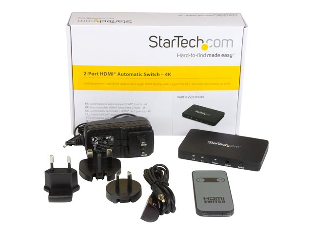 Startech : SWITCH HDMI AUTOMATIQUE 2 PORTS (2X1) avec SUPPORT MHL - 4K 30HZ