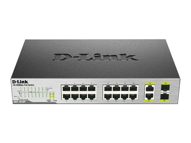 D-Link : 16-PORTS POE SWITCH FAST ETHERNET UNMANAGED