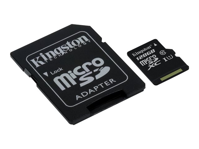 Kingston : 128GB MICROSDXC CLASS 10 UHS-I 45MB/S READ card + SD ADAPTER