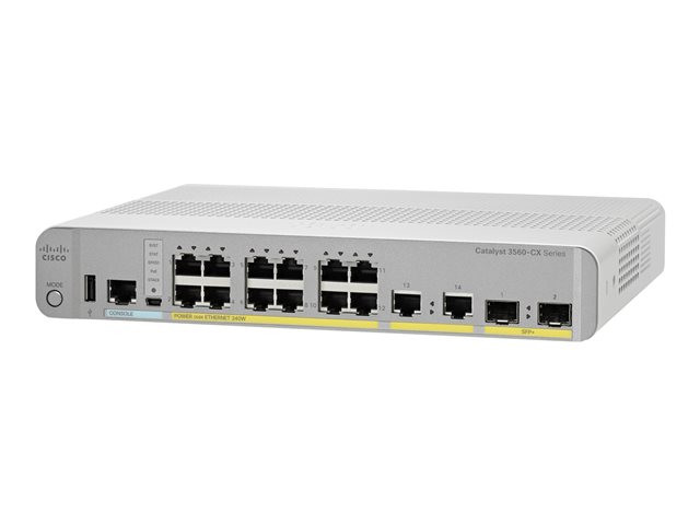 Cisco : CATALYST 3560-CX 12 PORT POE 10G UPLINKS IP BASE