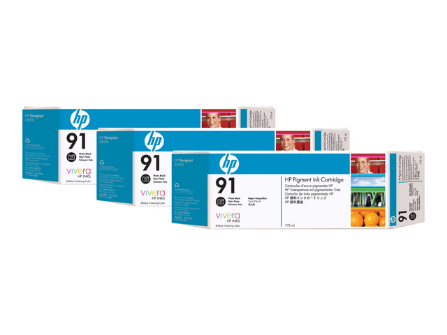 HP : HP 91 Photo NOIR INK CARTR 3PK 3 cartouche encreS 775 ML EACH