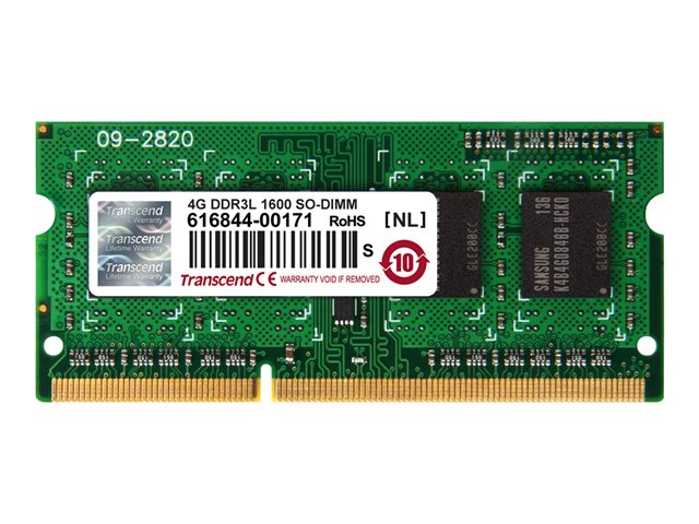 Transcend : 4GB DDR3 1600 SODIMM 512MX64 DDR3L-1600 CL11 1.35V