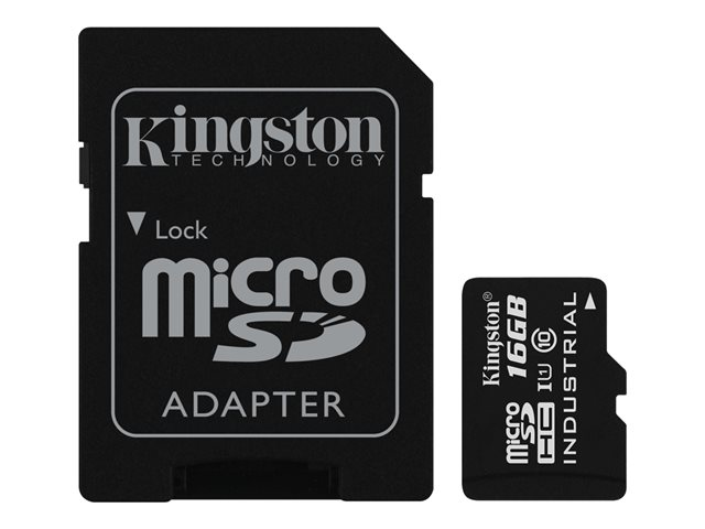 Kingston : 16GB MICROSDHC UHS-I CLASS 10 INDUSTRIAL TEMP CARD+ ADAPTER