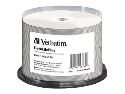 Verbatim : DVD-R 16X 4.7GB WIDE THERMAL PRINTABLE SILVER